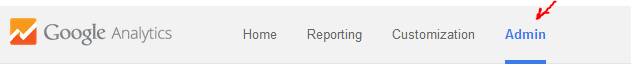 Выбор вкладки Admin в Google Analytics