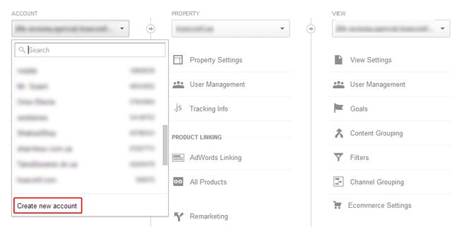 Создать новый аккаунт Google Analytics
