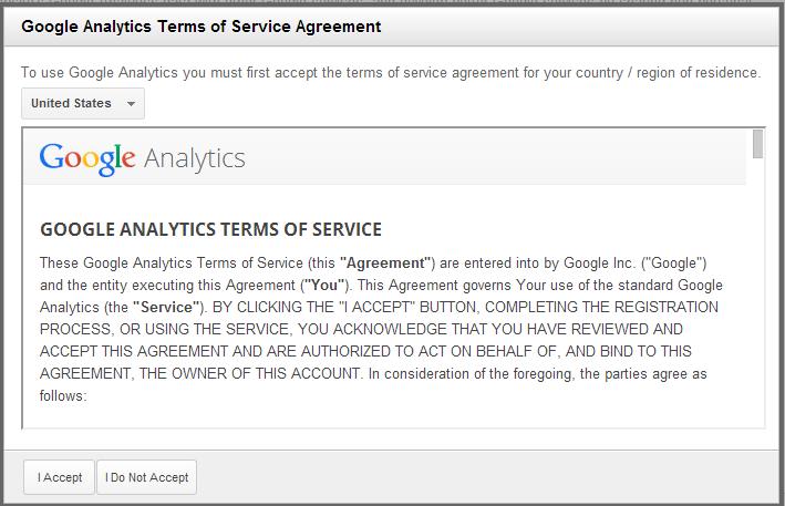 Условия предоставления услуг Google Analytics